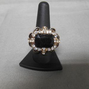 Black gem & rhinestone ring women's size 9